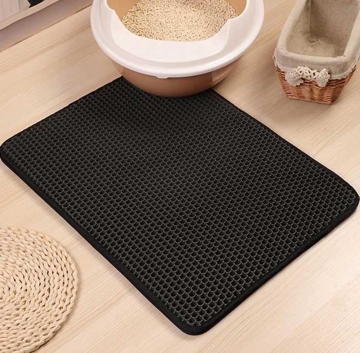 Double Layer cat litter mat with litter box
